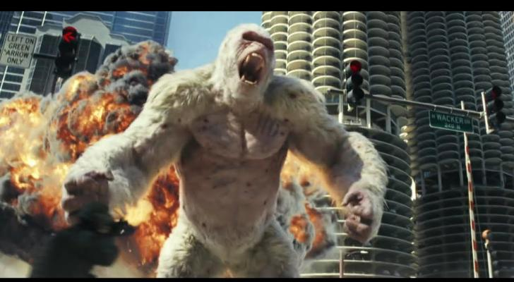 dwayne the rock johnson shows off new footage from the rampage